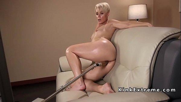 Solo blonde Milf fucks fast machine