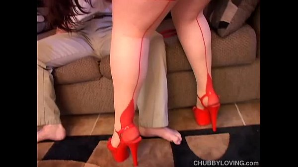 Big beautiful sexy lady in red sucks cock and eats jizz