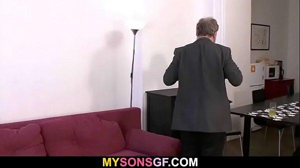 Old dad punishes son's girlfriend