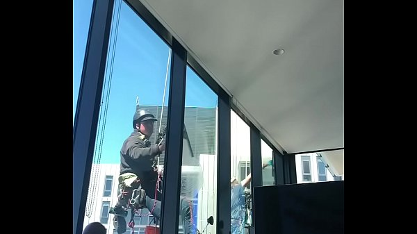 Flashing and cumming to window cleaners