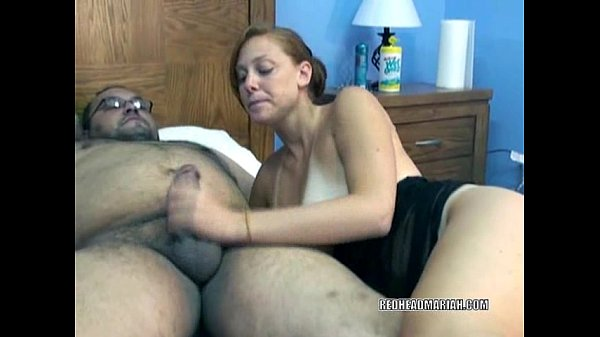 Redhead Mariah swallows an older guys stiff cock