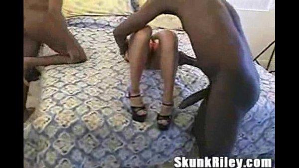 Bianca Banged By Skunk riley and his friend big black cocks Thumb