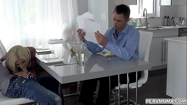 Naughty blonde MILF Olivia Blu plays with her stepsons dick under the table while having a dinner with her husband. Thumb