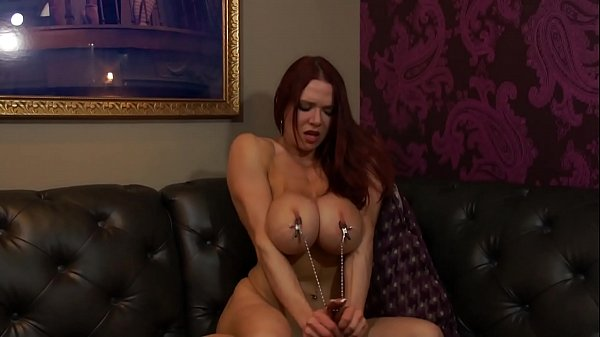 Busty Bodybuilder With Nipple Clamps and Hitachi