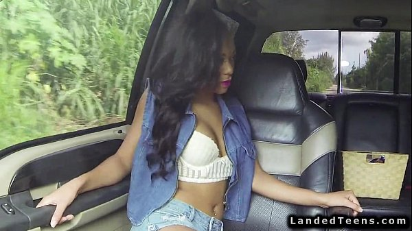 Spicy ebony teen fucking outdoor POV