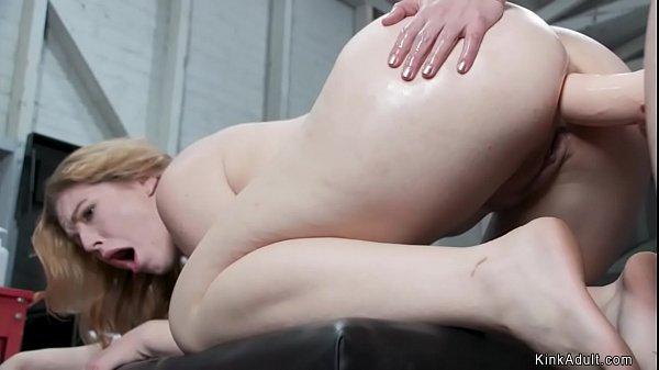 Blonde lesbian is anal banged in garage