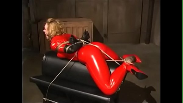 Hogtied & Spanked in Red Catsuit