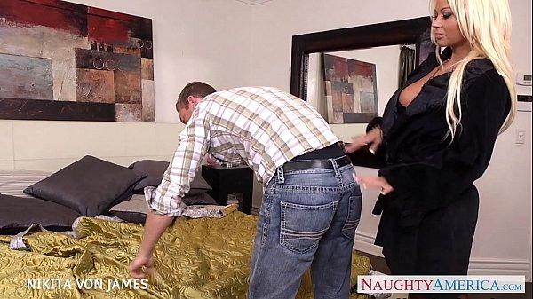 Platinum blonde Nikita Von James ride a big cock