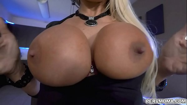 Brittany Andrews shows off her big fat titties to her horny stepson for a few bucks