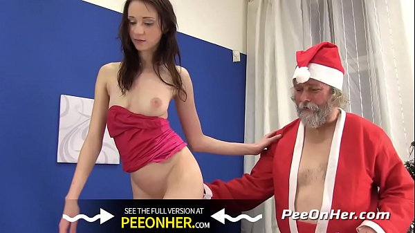 Pissing Porn - Santa showers brunette babe with piss