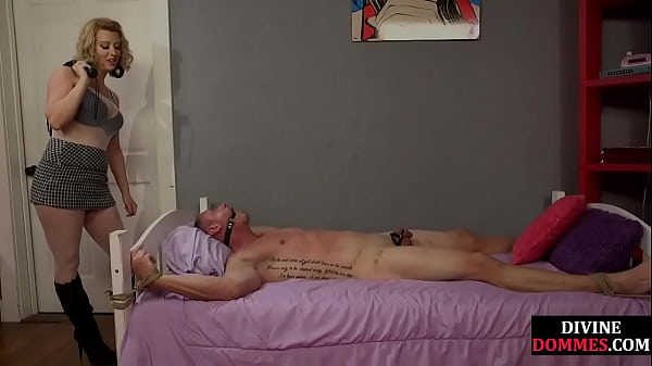 Busty femdom pegging pathetic sub after cbt