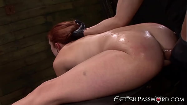 Redhead sub Rose Red gaped in anal dungeon befo...