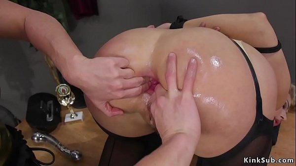 Blonde takes enema and anal dildos