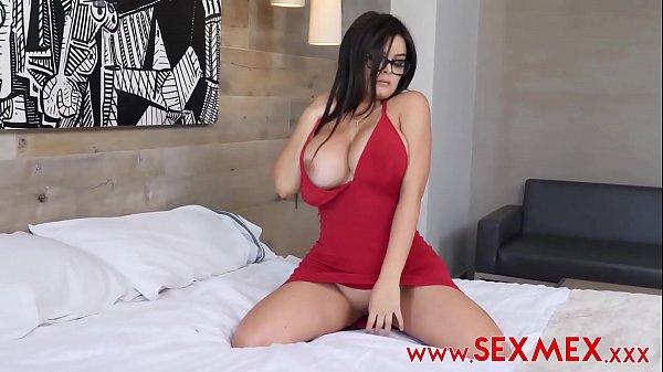Mexican Slut with Big Fake Tits Takes 2 Cocks