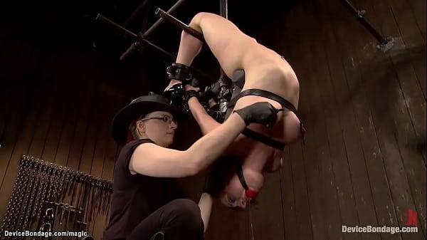 Sub in upside down back arch bondage