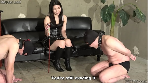 Japanese mistress whips her slaves and takes th...