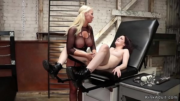 Blonde in fishnet bodysuit anal fisting