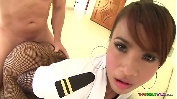 Fucking an Asian girl through her crotch-less stockings