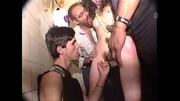 SetSexVideos - Gangbang in the bathroom of porn cinema. Thumb