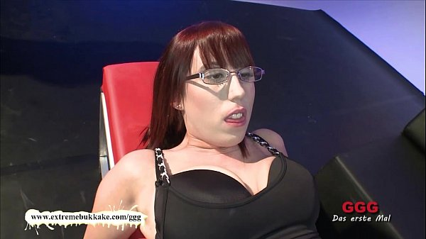 Nerdy girl loves cum on her glasses