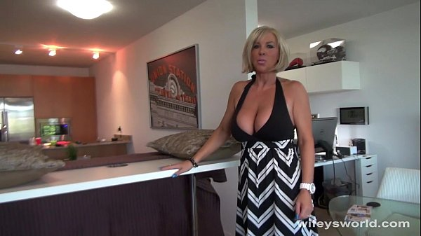 Busty Blonde MILF Sucks And Swallows Cum