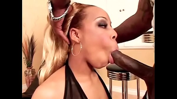 Blonde black slut in sexy lingerie Sweet Sinsacion takes hard dick in her pussy from the back