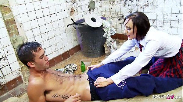 Skinny Blue Eyes Schoolgirl Fuck Homeless filthy Guy with Big Dick at empty house