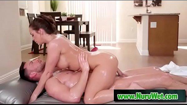 Slippery nuru massage with busty masseuse
