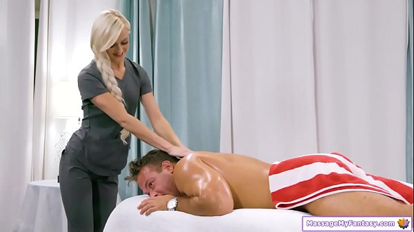 Guy massaged by new super horny masseuse