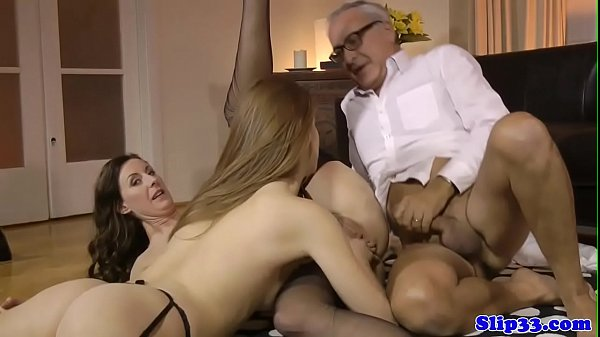 Euro babe licks milf and sucks oldman in trio