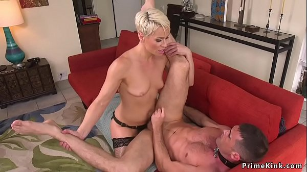 Blonde MILF dom anal fucks partyboy