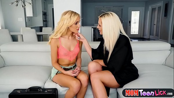 Stepmom seduces petite teenie and fucks her with a strapon
