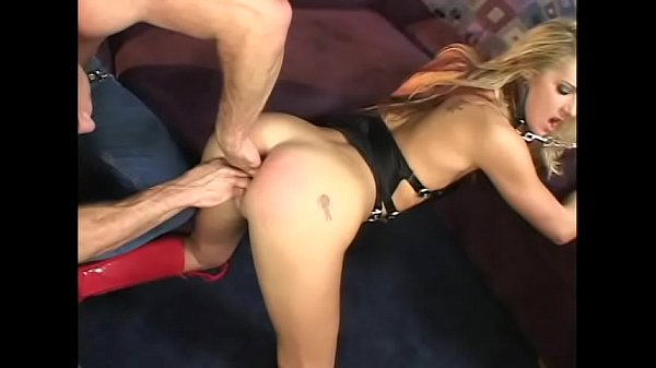 Naughty blonde Ashley Long in black latex lingerie enjoys feeling dildo in her wet pussy while horny dude polishes her arse with his dong