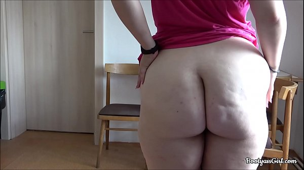 Big booty white babe masturbates in kitchen.