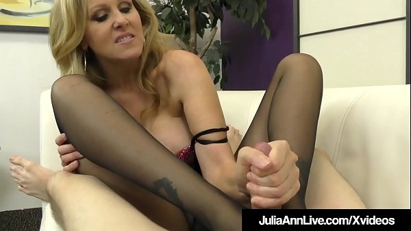 Busty Blonde Milf Julia Ann Foot Fucks A Hard Slave Cock