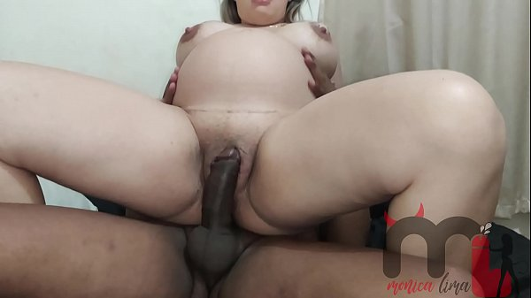 Humiliating my cuckold while being fucked by a black dick, he came in my pussy.