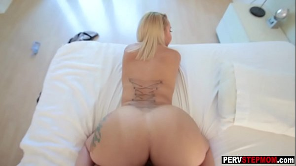 Sexy blonde MILF stepmoms striptease for young ...