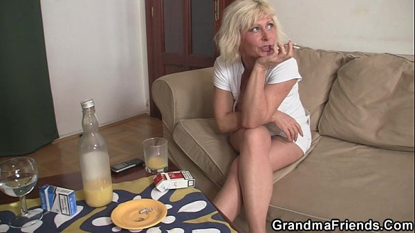 Threesome party with blonde mature widow Thumb