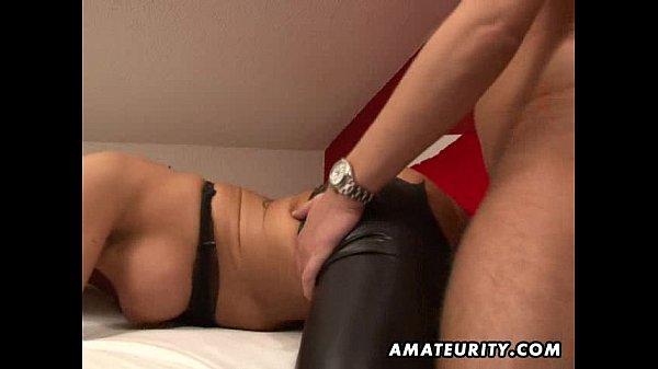 Busty amateur girlfriend sucks and fucks with cum on ass