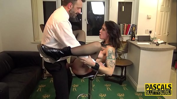 Bound and whipped submissive slut