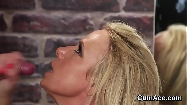 Wicked looker gets sperm load on her face gulping all the jizm