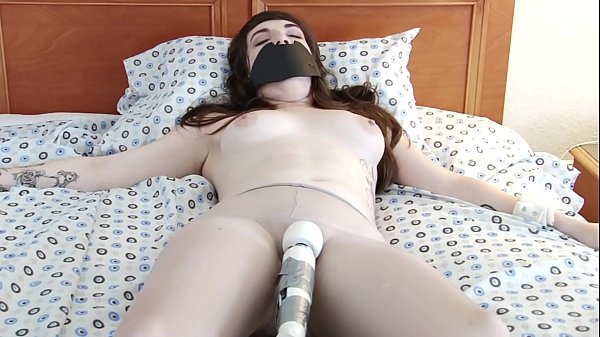 Hot and Sexy Brunette´s Cumming Hard Tied Up Hitachi Orgasm in a Pantyhose