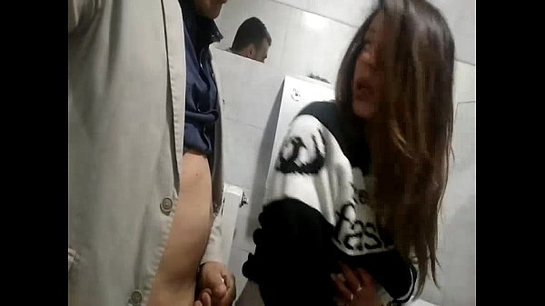 Fucking slutty wife on a public toilet
