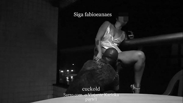 TRECHO Casada branquinha safada sarrando na Varanda com Negão bem dotado e corno filmando parte 1