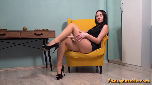 Beautiful Brunette Carolina In Nude Pantyhose Teasing and Giving Upskirt