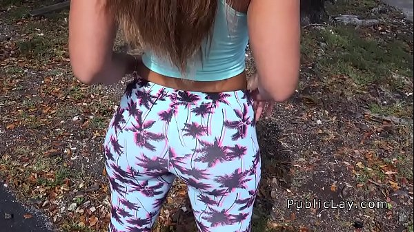Latina babe in legging shaking booty in public