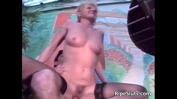 Amateur mature blonde slut satisfies two