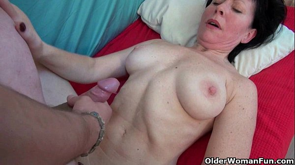 Grandma's new toy boy gets sucked and fucked