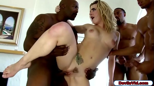 Blonde babe gangbanged by four black men