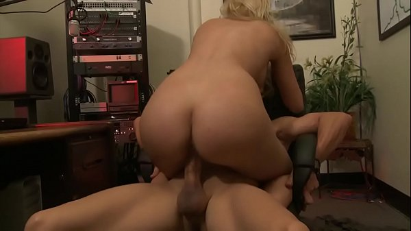 Speaker during the radio show fucks a beautiful blonde and cum on the ass
